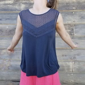 American Eagle | lace neck low back tank
